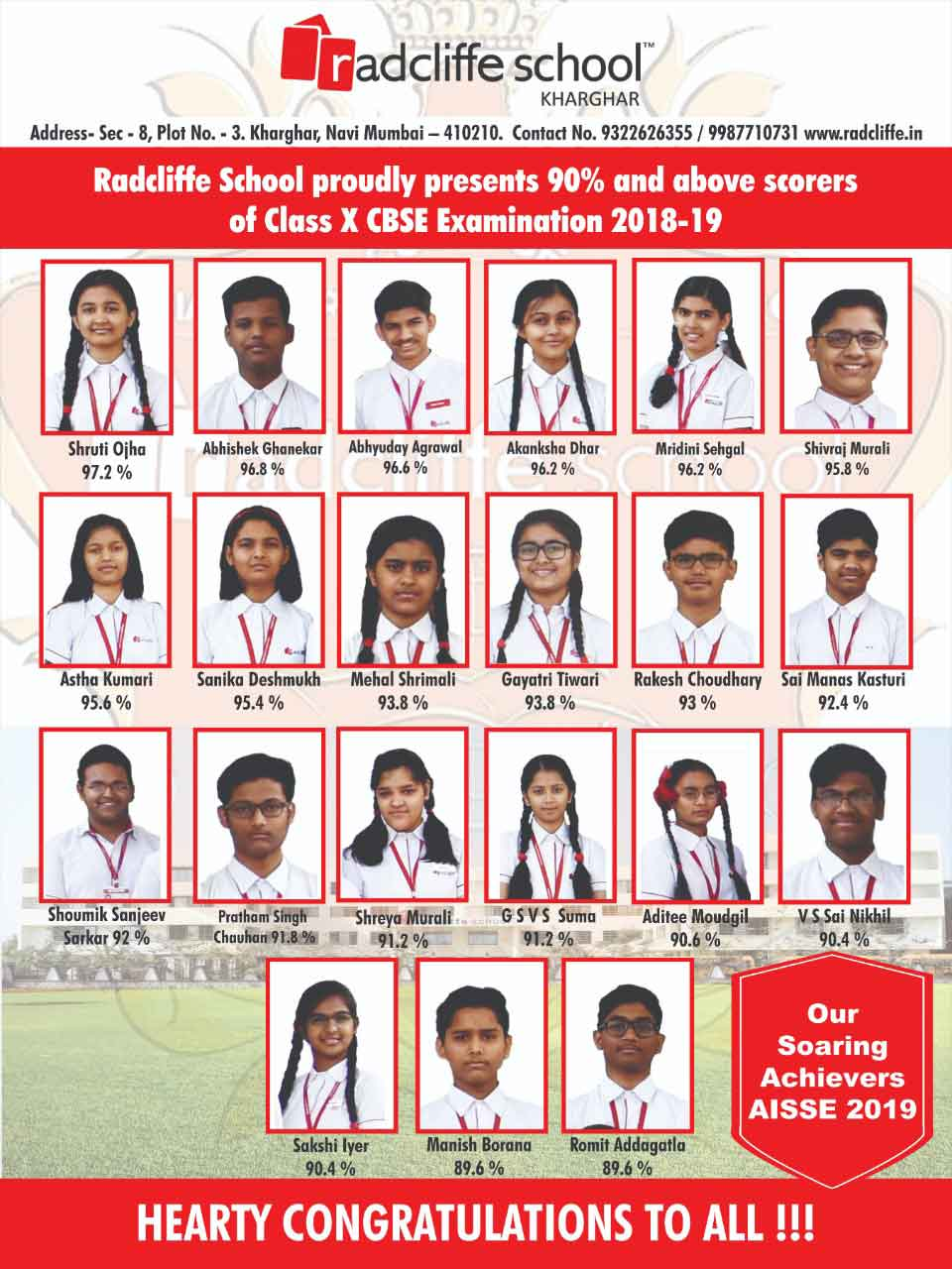 The Grade X Results - Students who scored above 90%. Congratulations to all!!